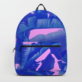 tropical banana leaves pattern,pink,blue Backpack