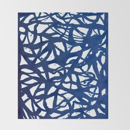 Blue Squiggles Throw Blanket