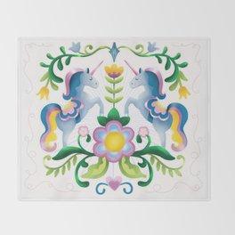 The Royal Society Of Cute Unicorns Light Background Throw Blanket