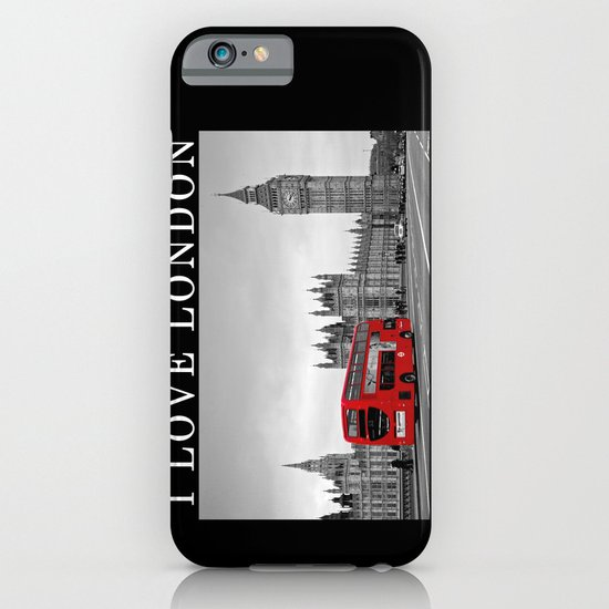 Black and White London with Red Bus iPhone & iPod Case