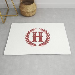 Rustic Red Monogram: Letter H Rug