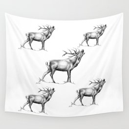 Red Stag Roaring 2 Wall Tapestry