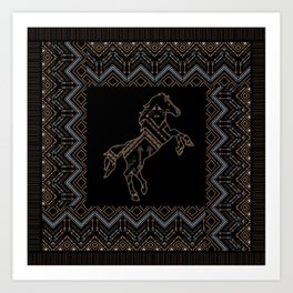 Ethnic pattern with a horse and american indian traditional ornament in brown and blue colors. Art Print