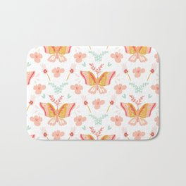 Modern cute pastel coral teal butterfly floral pattern Bath Mat