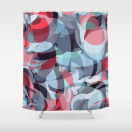 circle fractures blue red Shower Curtain