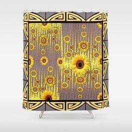 MODERN  ART DECO GOLDEN SUNFLOWERS  GREY-BLACK Shower Curtain