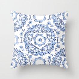 Blue Rhapsody on white Throw Pillow