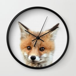 Fox print, Fox wall art, Nursery decor, Animal art, Baby animal prints Wall Clock