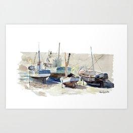 Quatre Bateaux de Pêche - Le Croisic Art Print