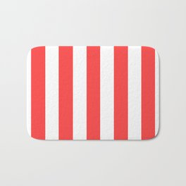 Coral red - solid color - white vertical lines pattern Bath Mat