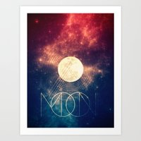 the moon Art Prints featuring Moon by Victor Vercesi
