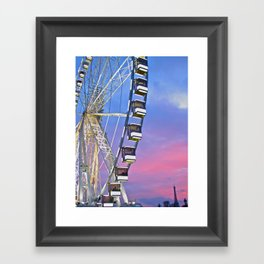 Ferris wheel at sunset Framed Art Print
