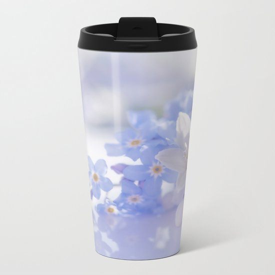Queen and court- Springflowers in blue and white - Stilllife Metal Travel Mug