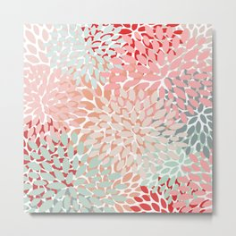 Floral Pattern Summer and Spring, Pink and Teal Metal Print