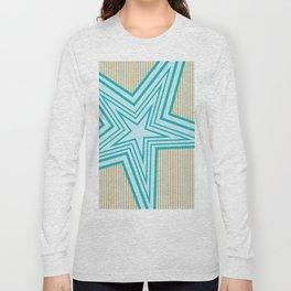 Geometric Blue Star Art Deco Long Sleeve T-shirt