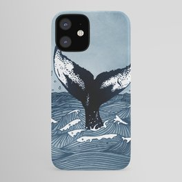 Hump Back Whale tail breaking the surface of stormy waves at sea iPhone Case