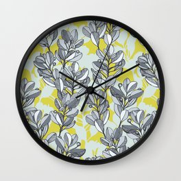 Leaf and Berry Sketch Pattern in Mustard and Ash Wall Clock