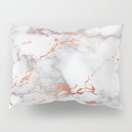 Glam stylish faux rose gold gray abstract blush chic marble Pillow Sham