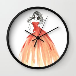 Coral ombre fashion illustration Wall Clock