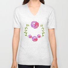 Floral Round Unisex V-Neck