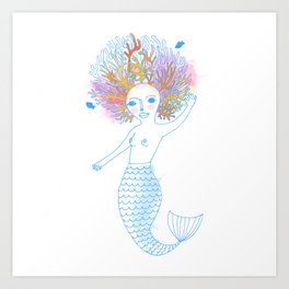Coral the Mermaid Art Print