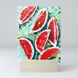 watermelon acrylic art Mini Art Print