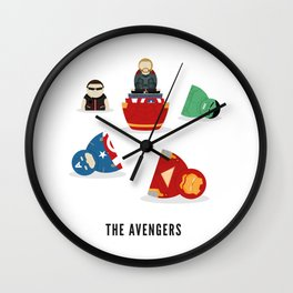 The Avengers open Russian doll illustration Wall Clock
