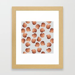Grey Big Clam pattern Illustration design Framed Art Print
