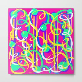 Streamer Celebrations on pink Metal Print