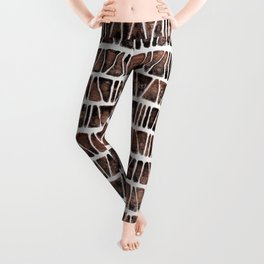 Watercolor Pattern Play - Triangle Meets Rectangle - Hematite + Bronze Leggings