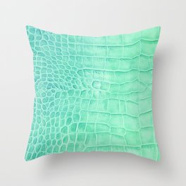 Croco leather effect - green water Throw Pillow
