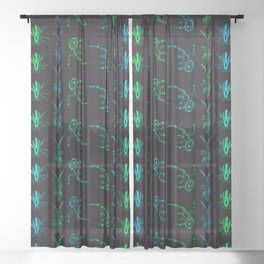 Neon Insect Stripes 2 Sheer Curtain