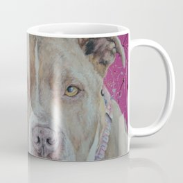 Beautiful pink abstract contrasting with realistic Ruby the staffie Coffee Mug