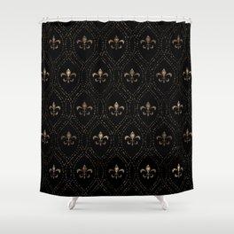 Fleur-de-lis pattern dot art black and gold Shower Curtain