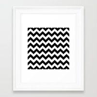 chevron Framed Art Prints featuring Chevron (Black/White) by 10813 Apparel