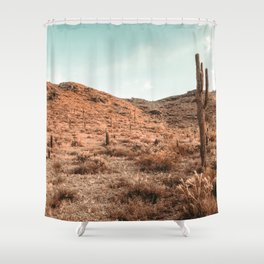 Saguaro Mountain // Vintage Desert Landscape Cactus Photography Teal Blue Sky Southwestern Style Shower Curtain