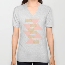 Modern Lines and Triangles Design in Blush, Teal, and Gold Unisex V-Neck