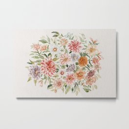 Loose Peachy Dahlia Watercolor Bouquet Metal Print