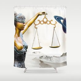 Lady Justice in the New World Shower Curtain