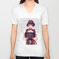 snow white V-neck T-shirts featuring Snow white by adroverart
