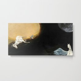 Horse flying to the moon Silver stream illustration Metal Print