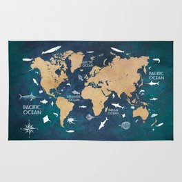 World Map Oceans Life blue Rug