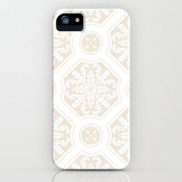 Exclusive floral tile pattern in light beige iPhone Case