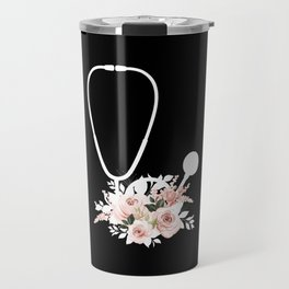 Doctor Gift Floral Stethoscope Healthcare Workers Travel Mug