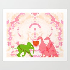 Family (Pink and Pink) Art Print