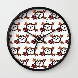 Happy Smiling Autumn Face #2 #pattern #decor #art #society6 Wall Clock
