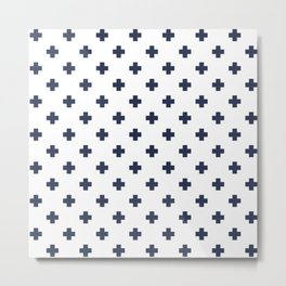 Navy Blue Swiss Cross Pattern Metal Print