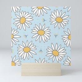 White Daisies on light blue Mini Art Print