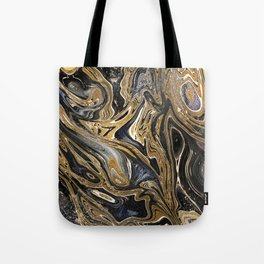 Black and Gold Liquid Marble Tote Bag