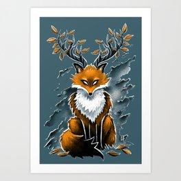Deer Fox Art Print